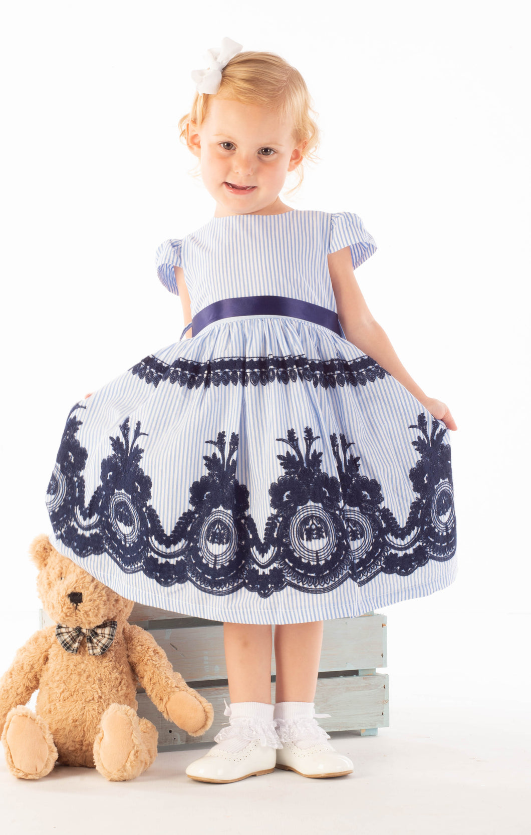 Blue Stripe Embroidered Dress With Ribbon