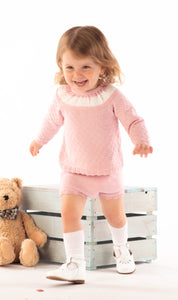 Spanish Style Dusky Pink Knitted Top And Rompers