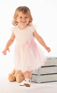 Girls Pale Pink Dress With Layered Net Skirt And Matching Bloomers By Mintini