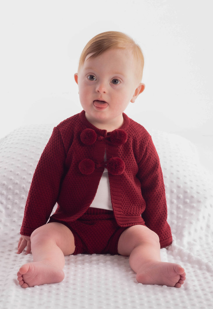 Spanish Knitted Baby 2 Piece Set With Pom Poms