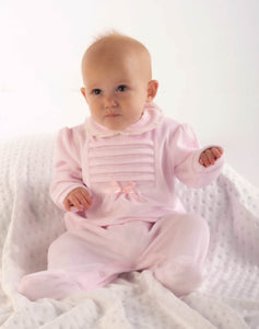 Girls Pink Velour All In One With Bow