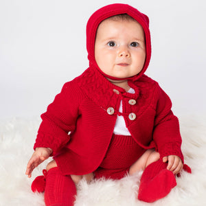 Knitted Red Shawl, Jam Pants And Bonnet Set