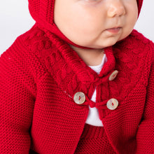 Load image into Gallery viewer, Knitted Red Shawl, Jam Pants And Bonnet Set