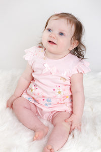 Tropical Print Ruffle Top And Bloomers With Bows