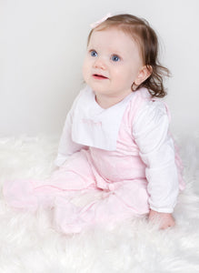 Spanish Style Velour Baby Girls Sleepsuit Bow Detail