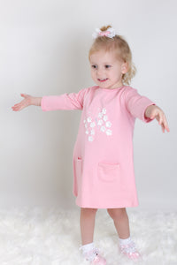 Pink Cotton Dress With 3D Butterfly And Flowers