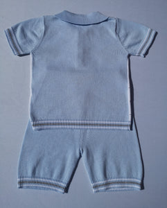 Blue And Grey Knitted Two Piece Set By BLUES BABY
