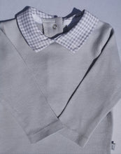 Load image into Gallery viewer, Grey Bodysuit With Gingham Collar