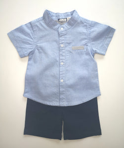 Traditional Blue Shirt And Short Set With Pocket Detail