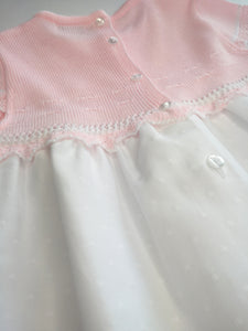 Spanish Style Pink And White Knitted Dress By Blues Baby