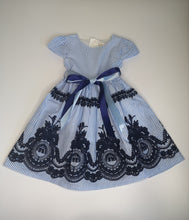 Load image into Gallery viewer, Blue Stripe Embroidered Dress With Ribbon