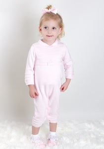 Pink Knit Dungarees With Matching Top