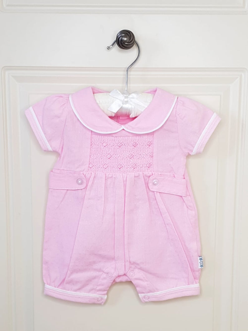 Pink Girls Romper With Smocking