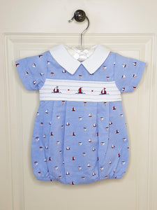 Traditional Sail Boat Romper With Smocking