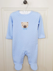 Baby Boys Crochet Teddy Bear Sleepsuit