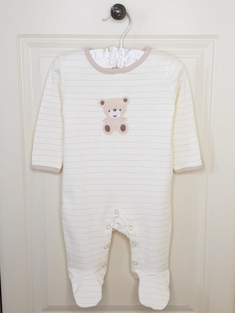Unisex Baby Crochet Teddy Bear Sleepsuit