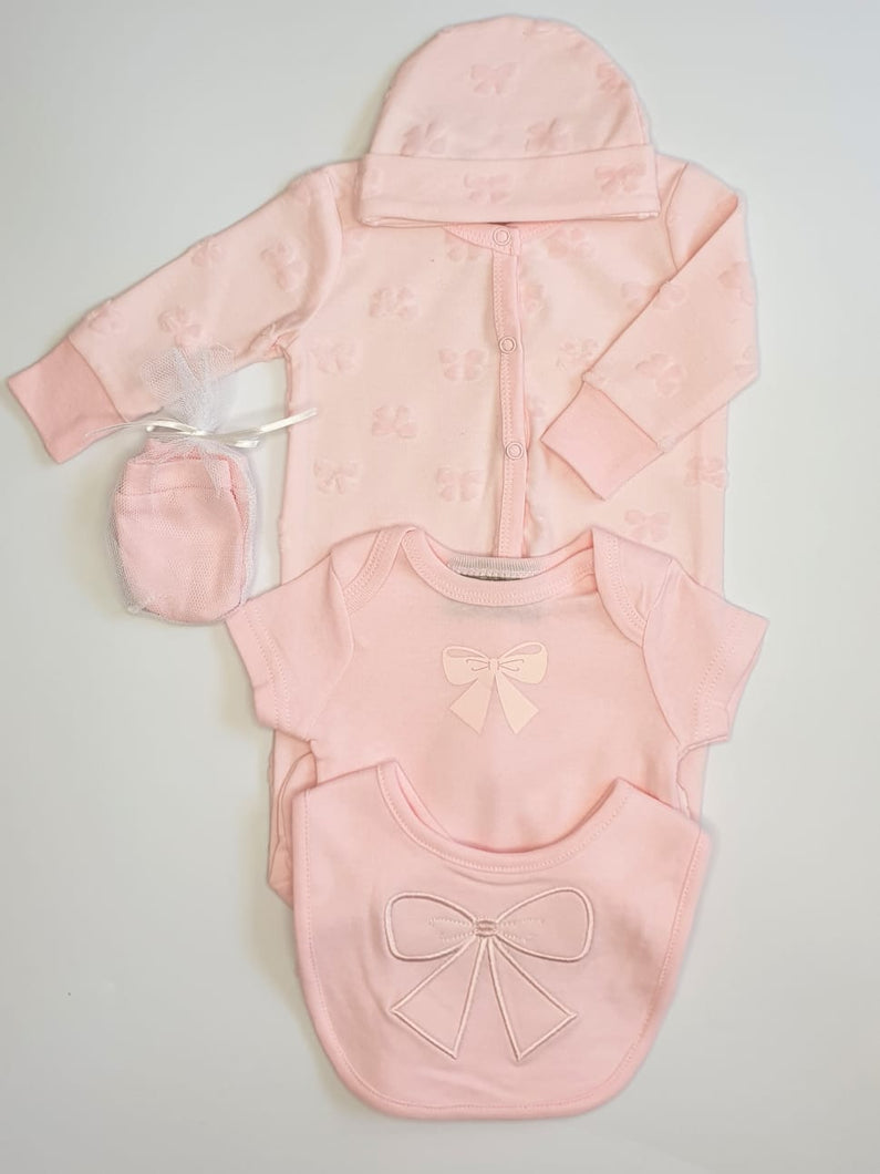 5 Piece Baby Girls Sleepsuit Set With Bow Detail