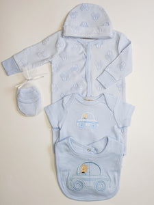 5 Piece Baby Boys Sleepsuit Set With Car Detail