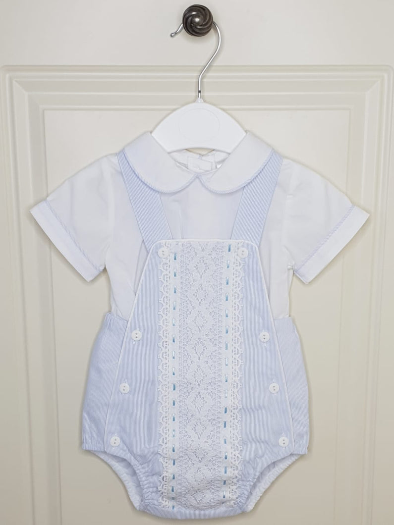 Boys Traditional Romper With Lace Detail