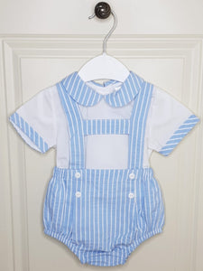 Traditional Boys Stripe H-Bar Romper And Matching Shirt