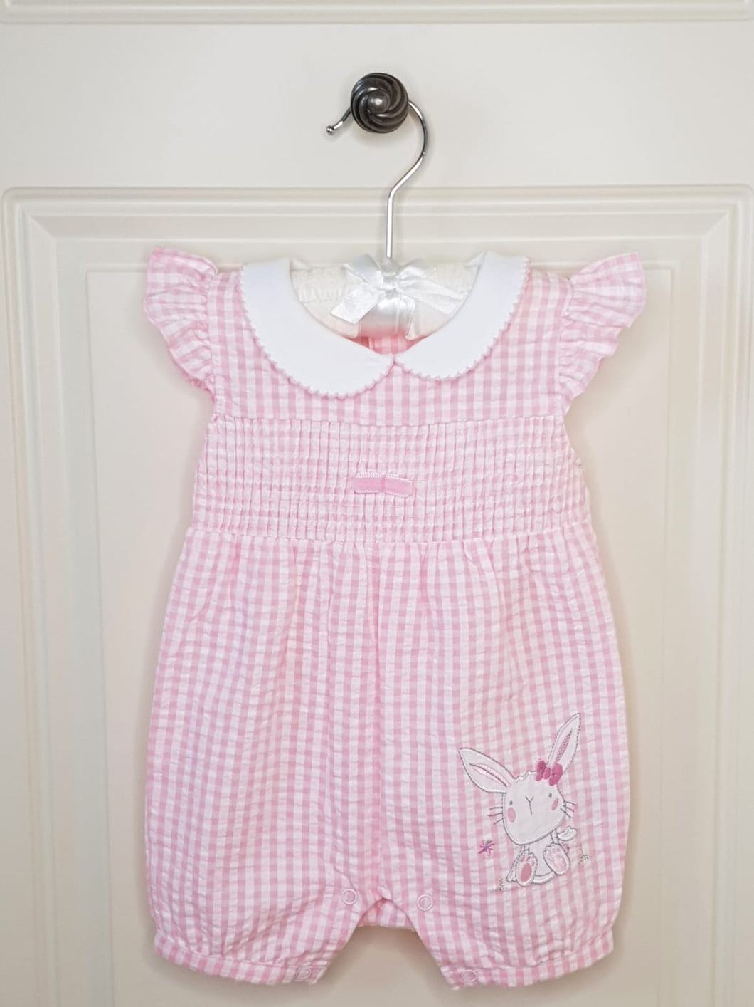 Baby Girls Smocked Romper With Bunny