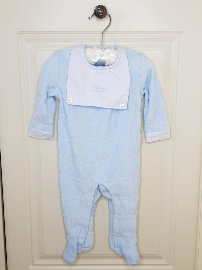 Spanish Style Velour Baby Boys Sleepsuit With Train Detail