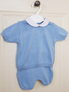 Boys Traditional Blue Fine Knit Outfit