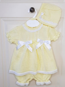 Girls Portuguese Lemon Knitted Outfit With Matching Bloomers And Bonnet