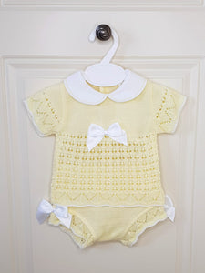 Girls Lemon Knitted Two Piece Set With Bows