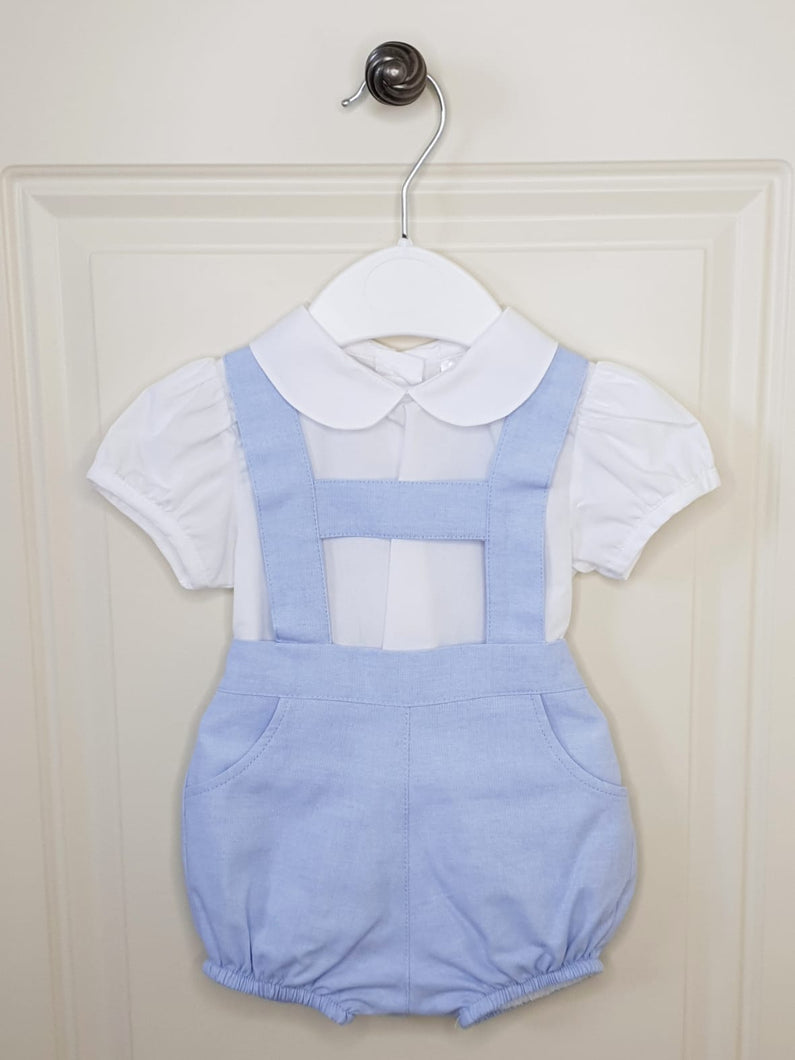 Traditional Boys Blue H-Bar Romper With Shirt