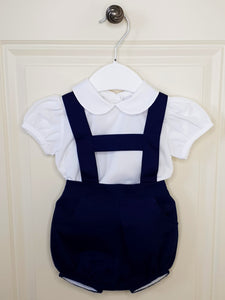 Traditional Boys Navy H-Bar Romper With Shirt