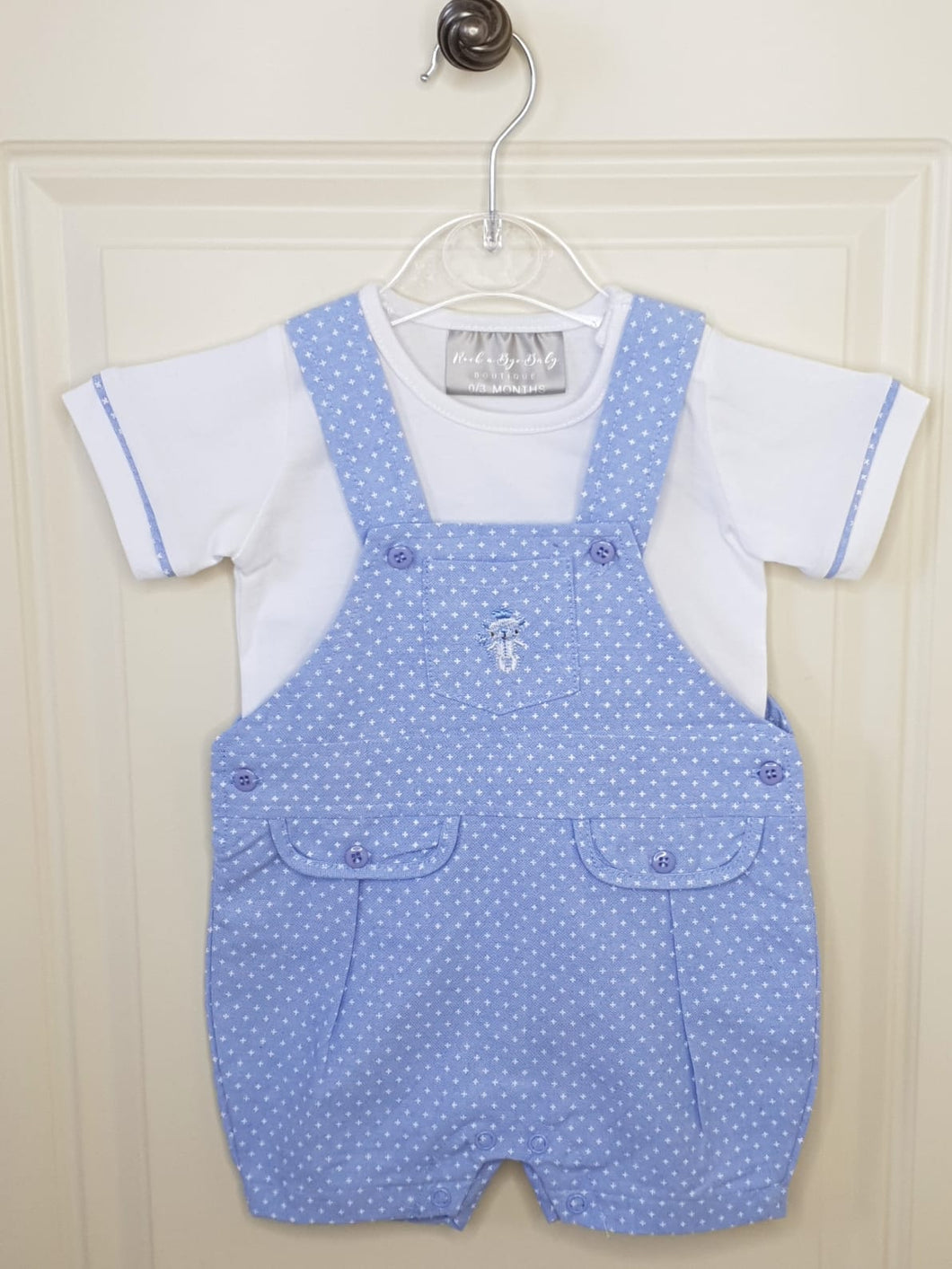 Baby Boys Dungarees With Embroidered Teddy Bear