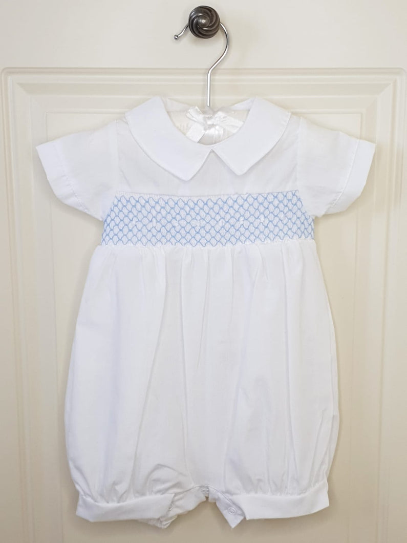 White Baby Spanish Romper With Smocking