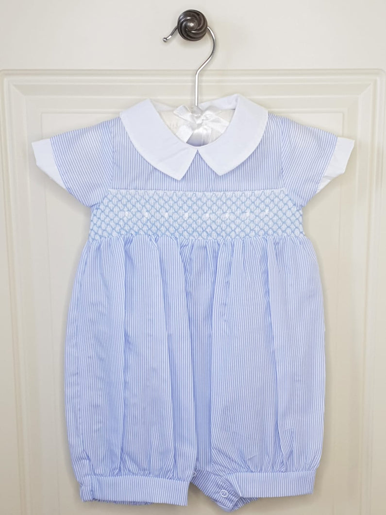 Baby Blue Spanish Romper With Smocking