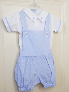 Baby Boy Blue Stripe Dungarees With Shirt