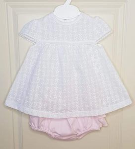 Girls Portuguese Cross Over Back Top And Pink Ruffle Bum Bloomers