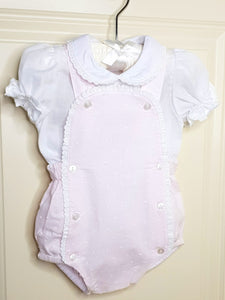 Girls Pink Traditional Romper With Lace Detail
