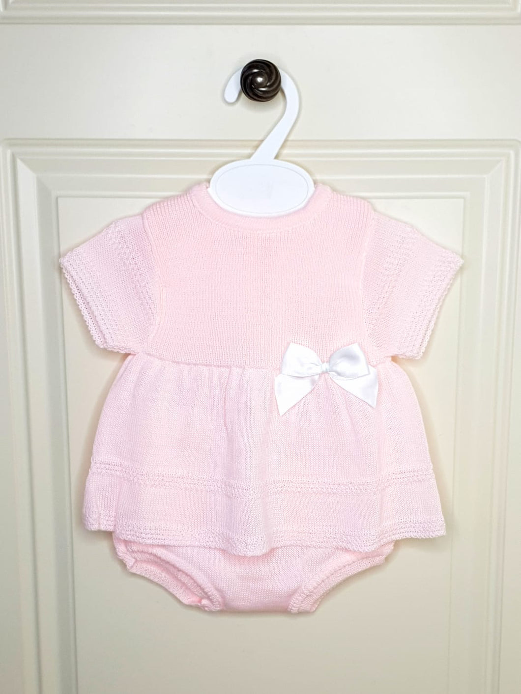 Girls Pink Knit Outfit with Bow