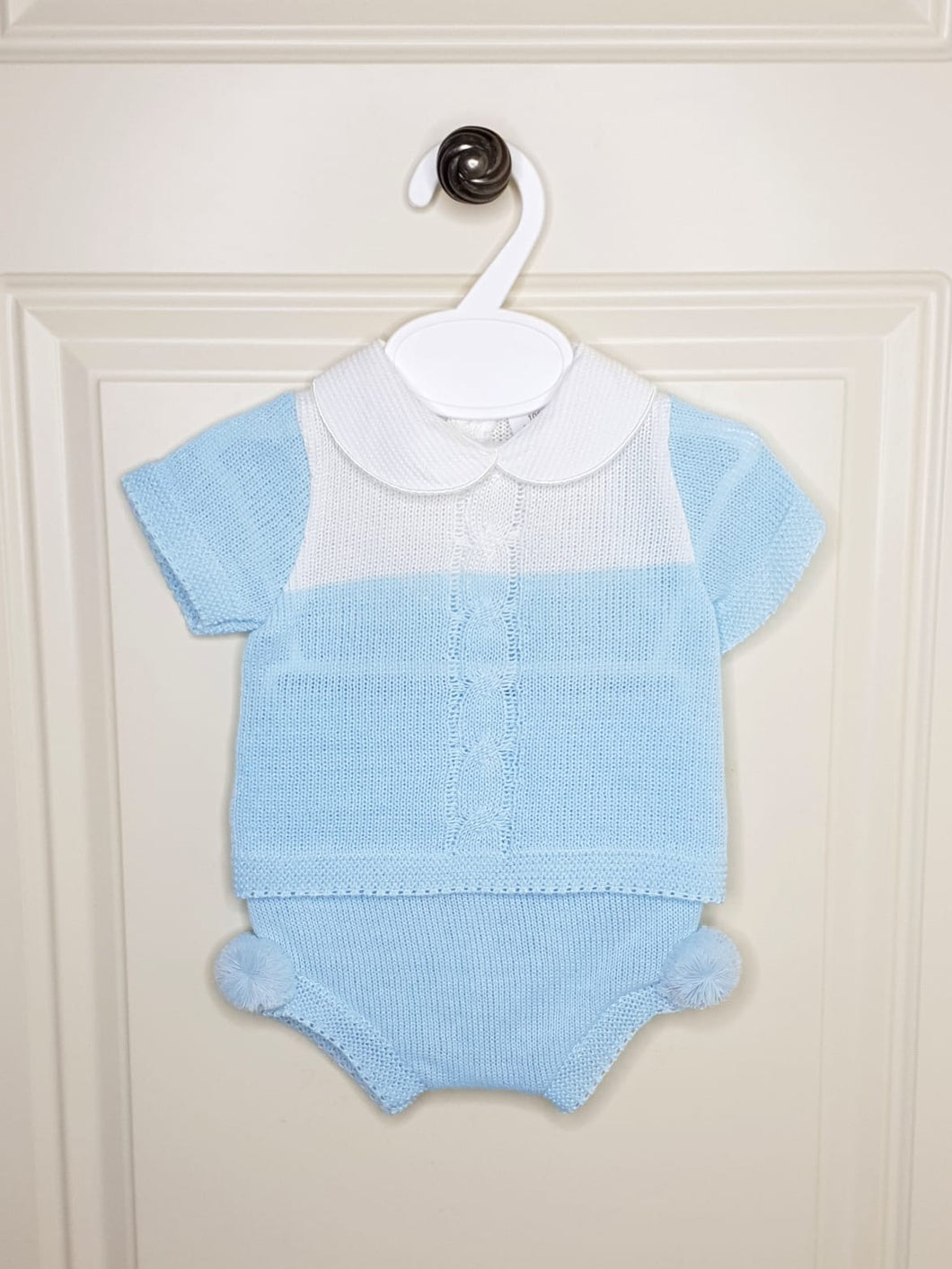 Baby Boys Baby Blue Knit Set With Pompoms