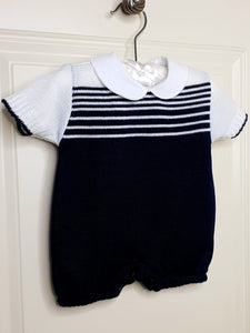 Boys Navy Knit Romper