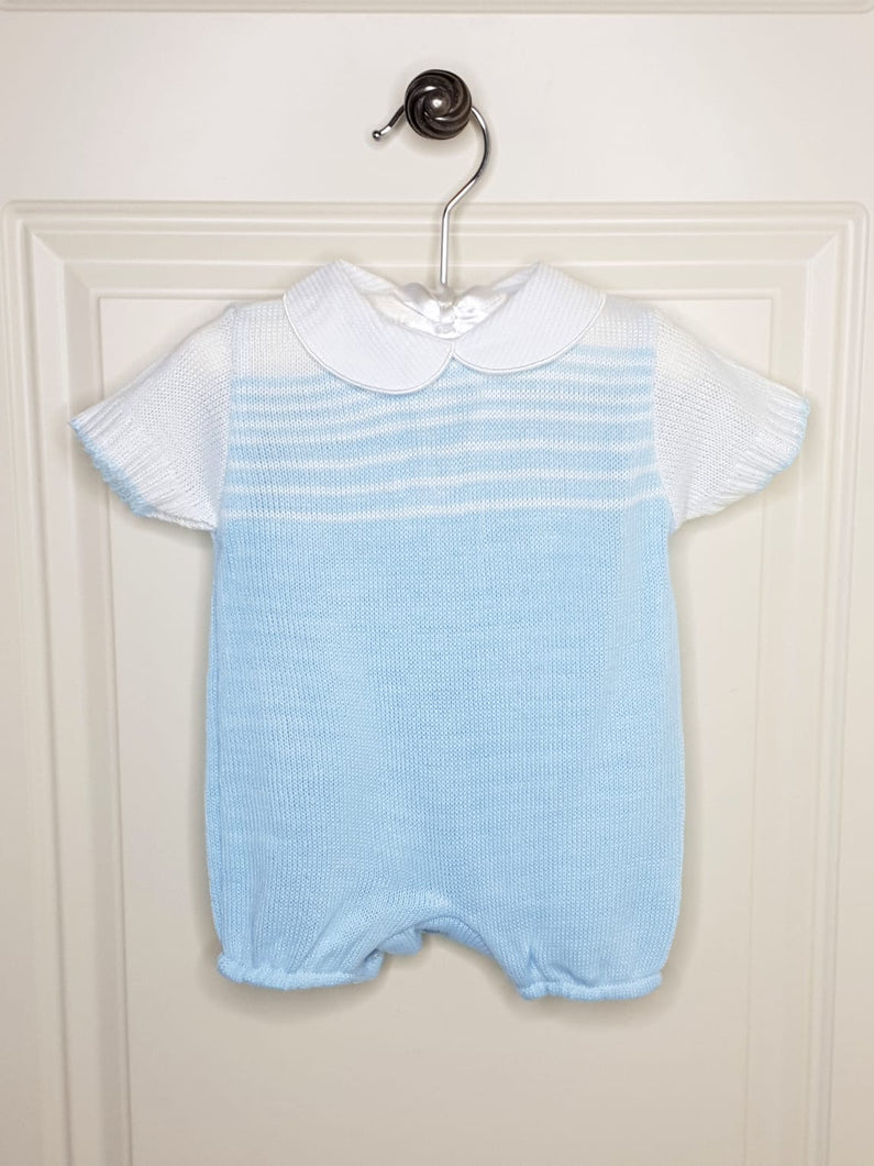 Boys Baby Blue Knit Romper