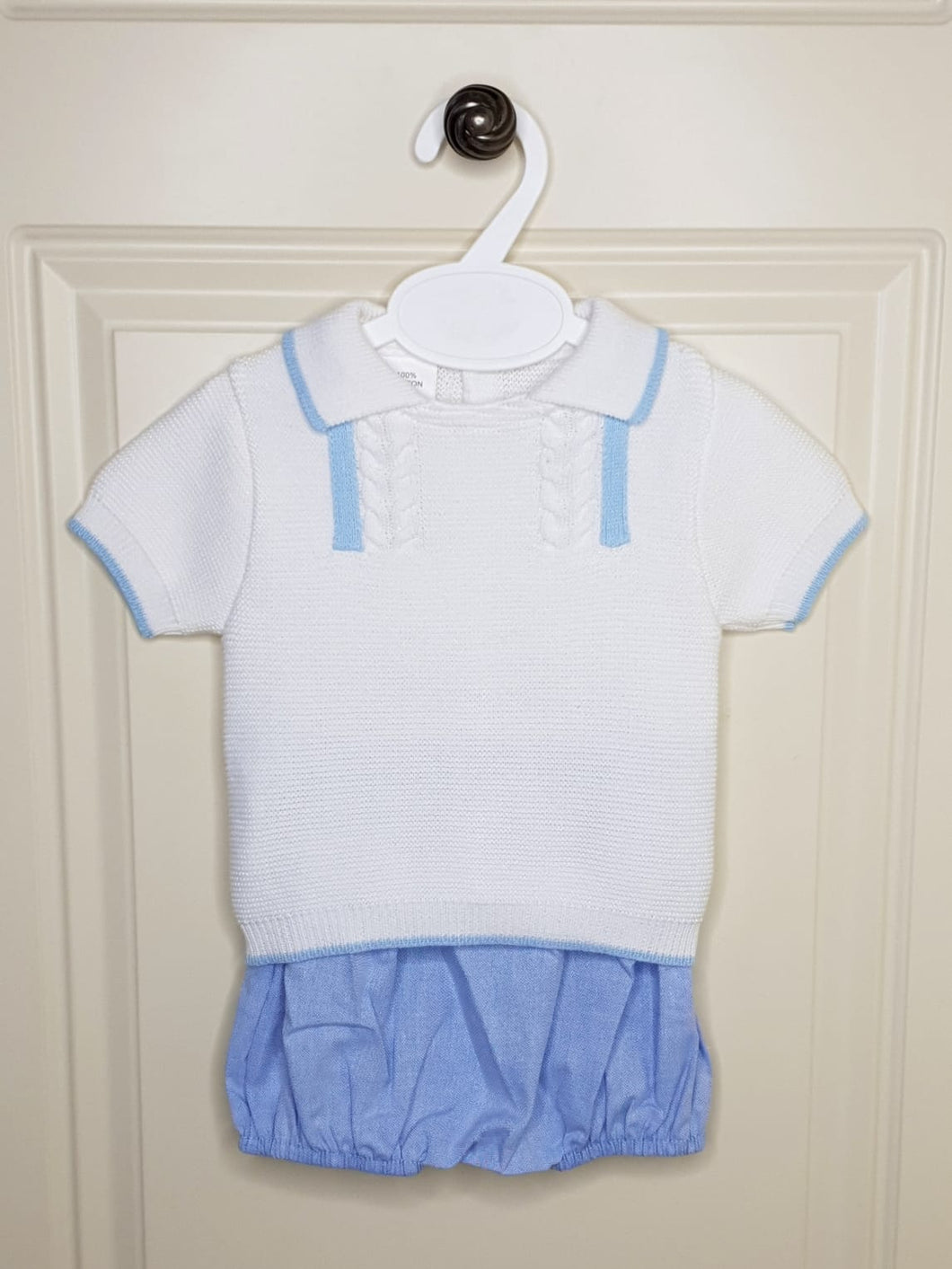Baby Boys Baby Blue Knit Top With Blue Jam Pants