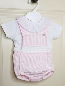 Girls Pink And White Pin Stripe Traditional Romper