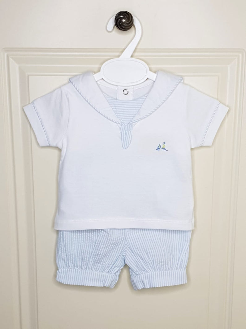 Boys Baby Blue Sailor Outfit With Embroidered Sailboat And Lighthouse