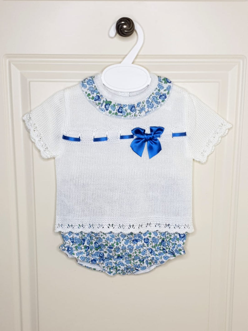 Blue Flower Knitted 2 Piece With Bloomers