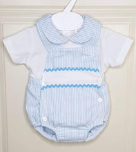 Load image into Gallery viewer, Boys Blue And White Pin Stripe Traditional Romper