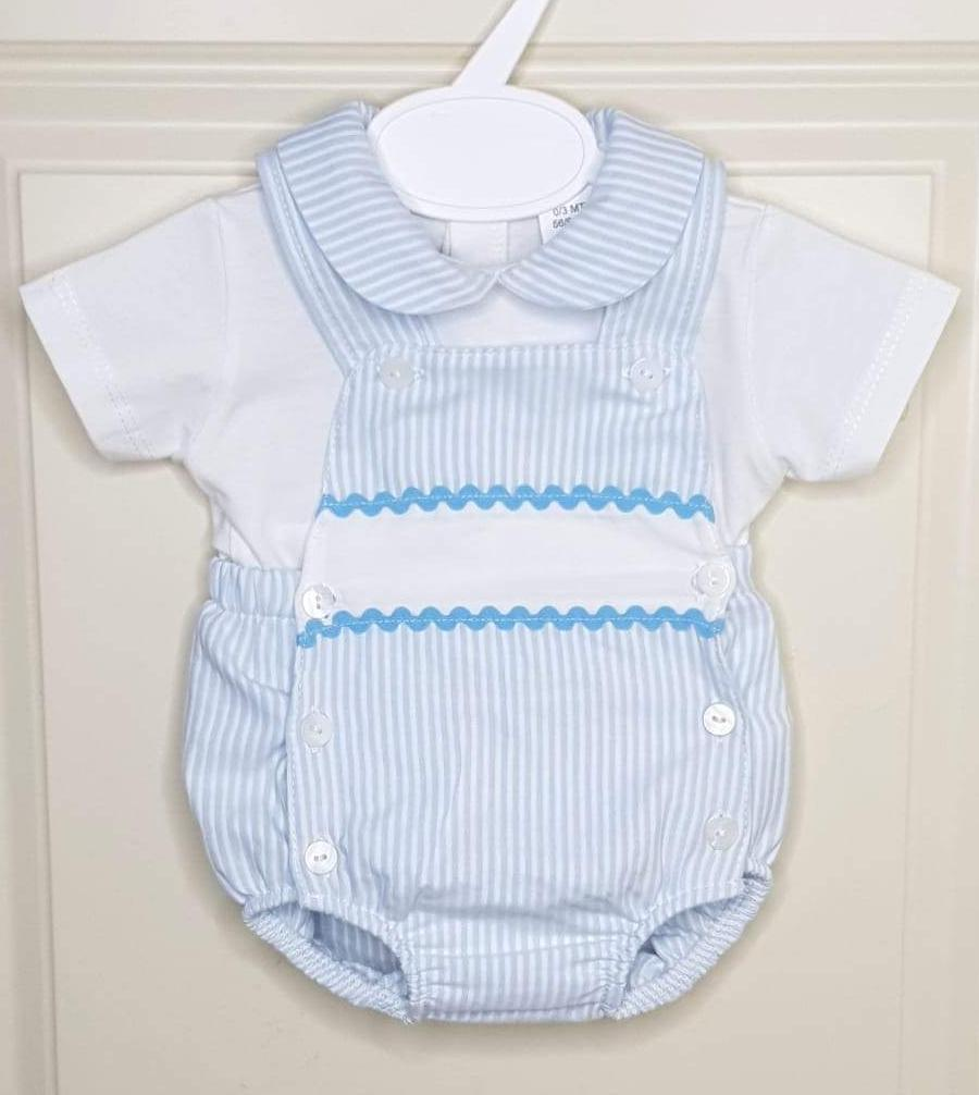 Boys Blue And White Pin Stripe Traditional Romper