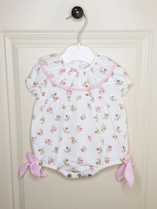 Girls Flower Romper With Bows