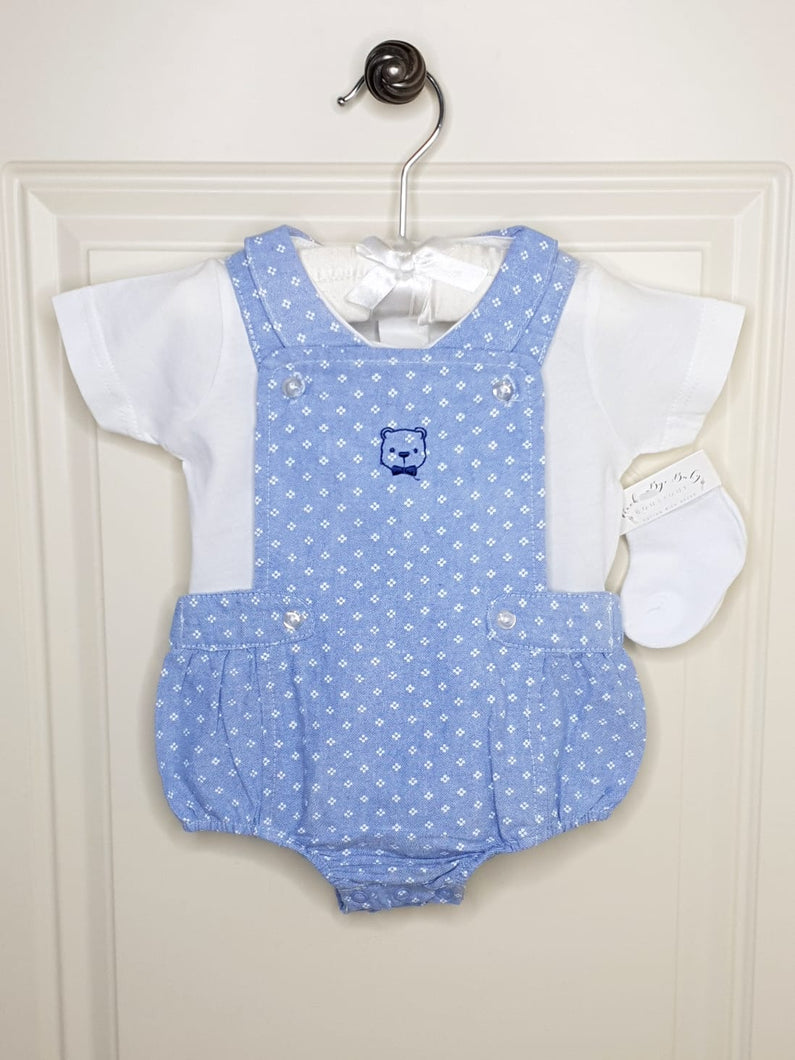 Boys Blue Romper With Top And Matching Socks