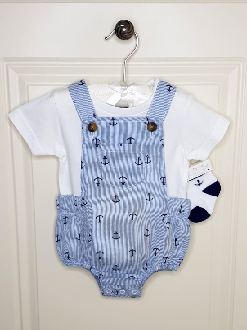 Boys Anchor Print Romper With Top And Matching Socks